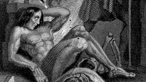 Frankenstein's creature. Engraving by W. Chevalier after Th. von Holst, 1831. Featured as frontispiece to the 1831 edition of Shelley's novel.